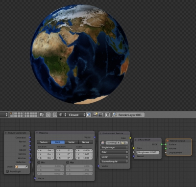 Planet texture mapping with Environment Texture node usage
