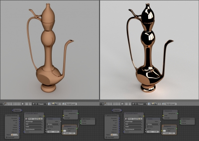 Scene lighting. Simple gray light (left) and with HDRI using (right)