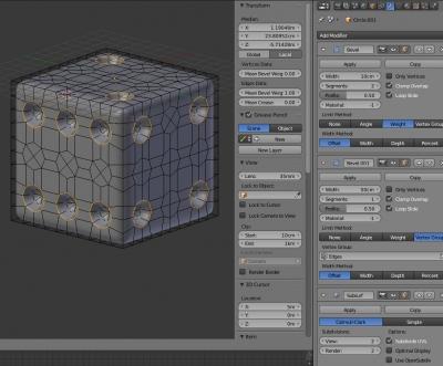 Кубик с назначенными модификаторами