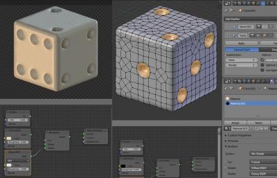 Назначение материалов сторонам и точкам кубика